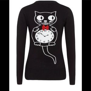 Voodoo Vixen Cat Clock Sweater EUC 1X